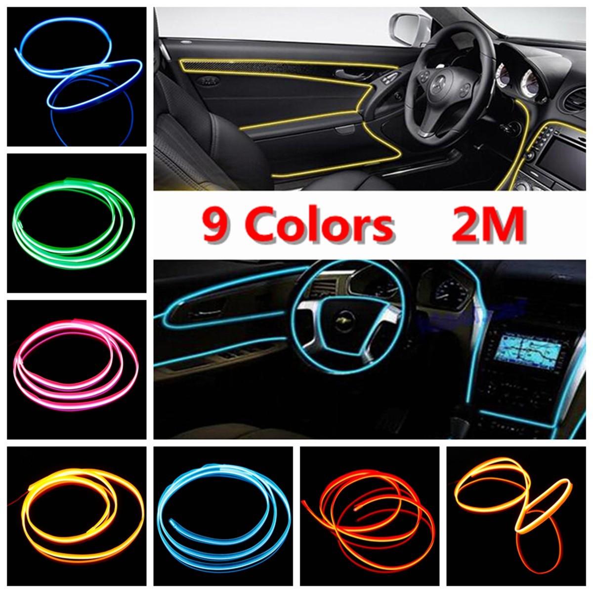 2M EL Neon Kabel Licht Effekt Lichtschnur Draht Wire Party DIY ...