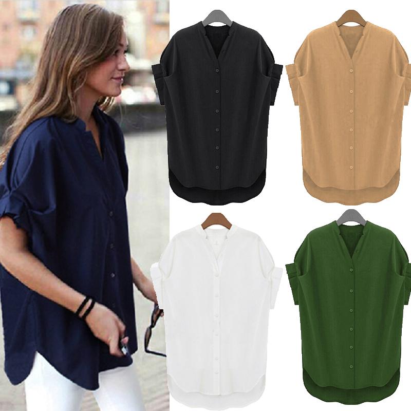 013a07fba Women Summer Short Sleeve Button Down Shirt Top Tee Plain Basic Plus ...