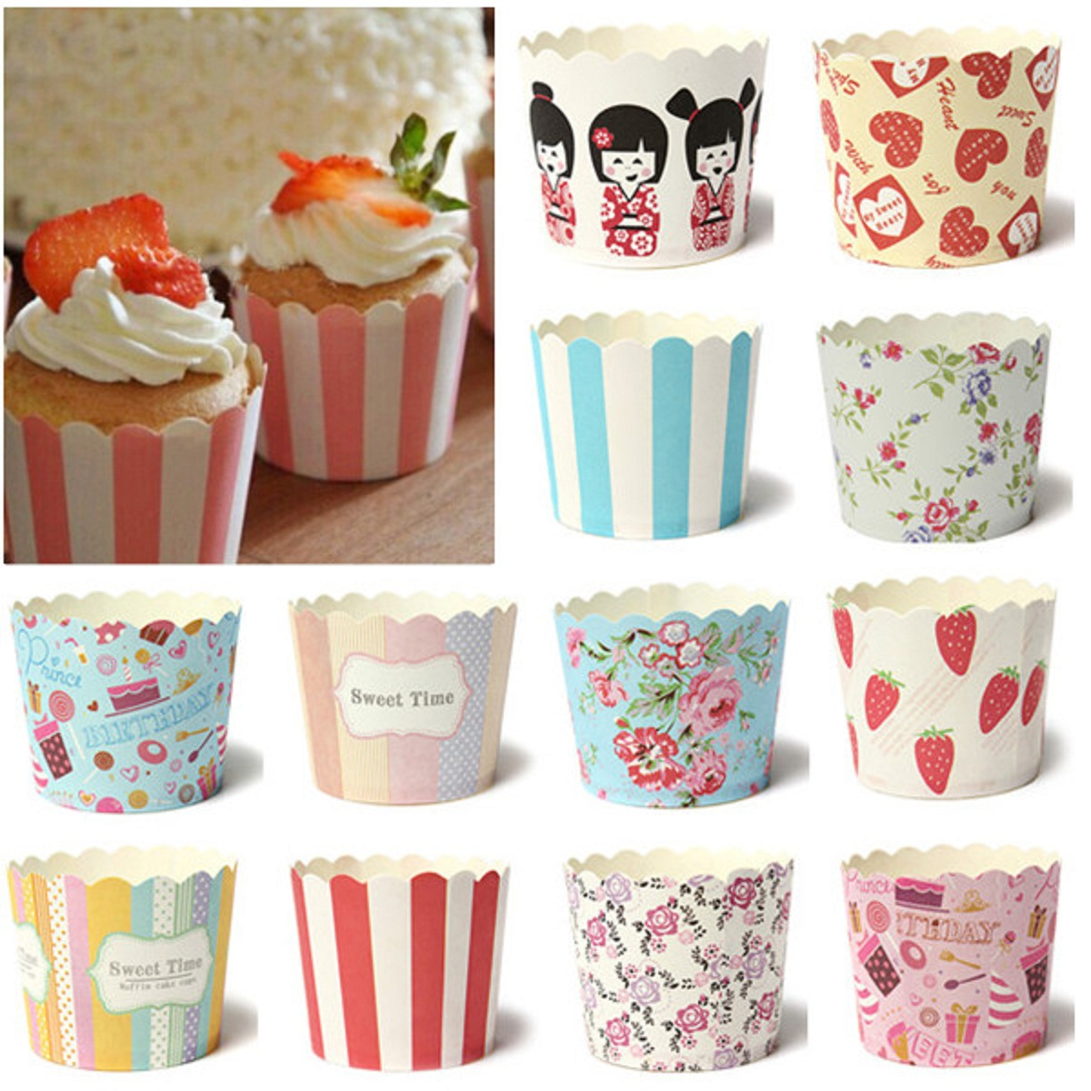 Christmas Party Mini Paper Cake Cup Liners Baking Cupcake Cases