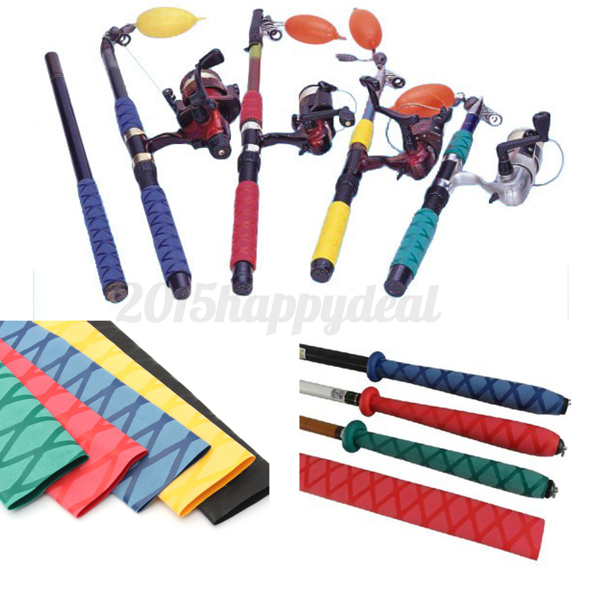 Non slip heat shrink tubing grip fish tackle rod badminton for Fishing rod handle wrap