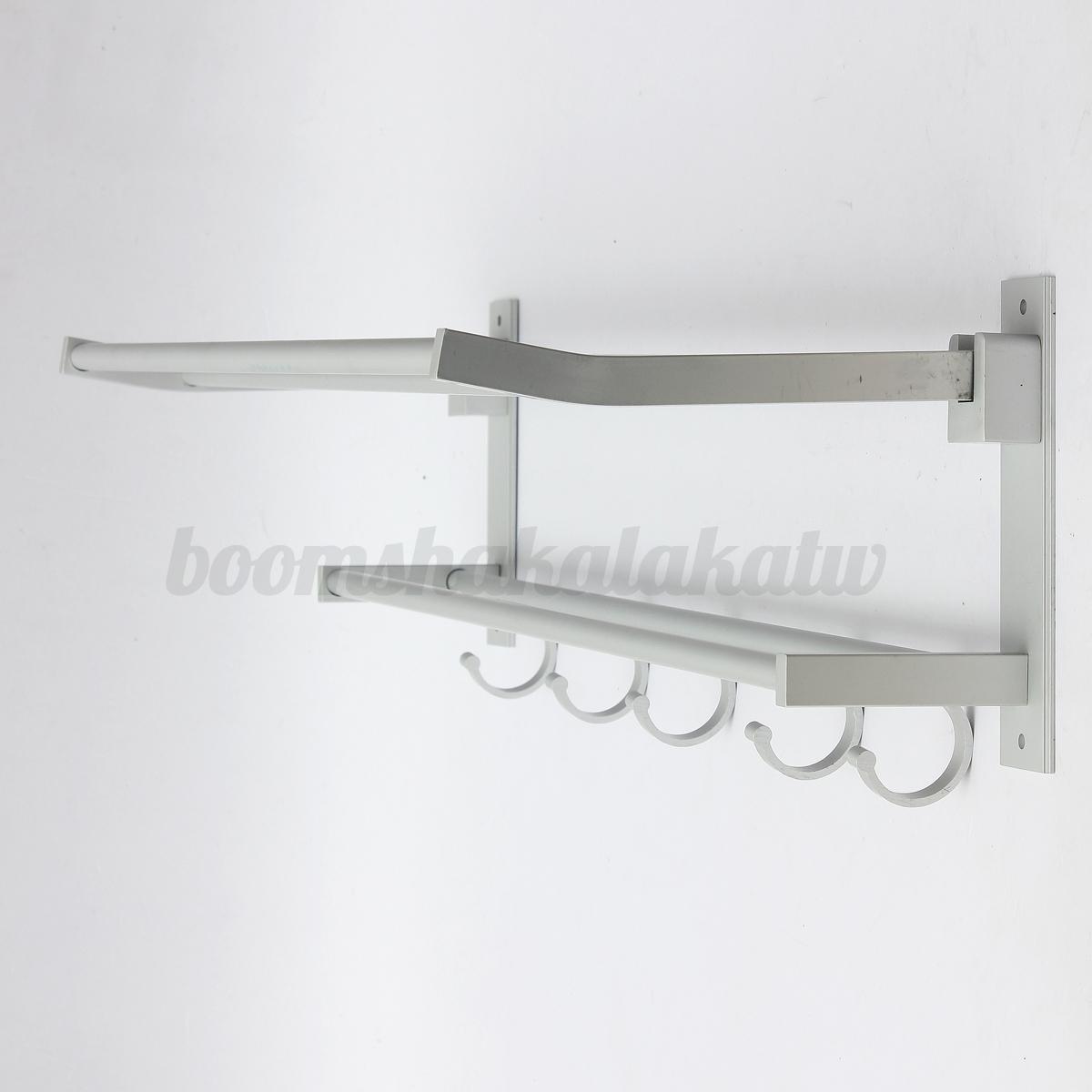 Double rows wall mounted bathroom towel rail holder rack for Double towel rails for bathrooms