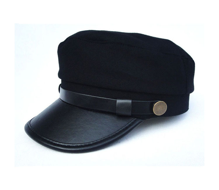 447b79f1 Women Men Army Leather Cap Cadet Military Navy Sailor Flat Cotton ...