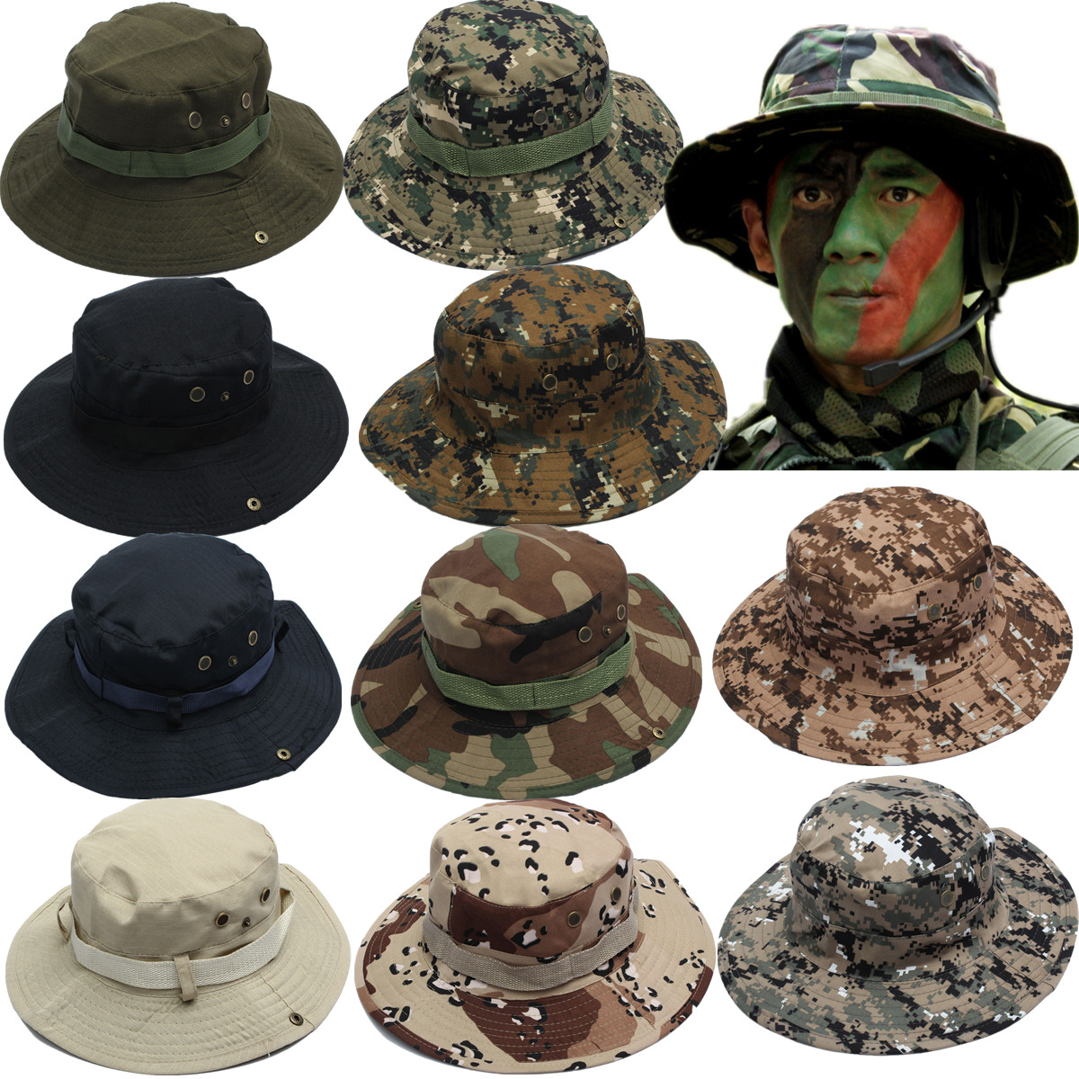 Unisex Outdoor Hunting Fishing Bucket Hat Boonie Wide Brim Sun Camo ... 809ed4a545f