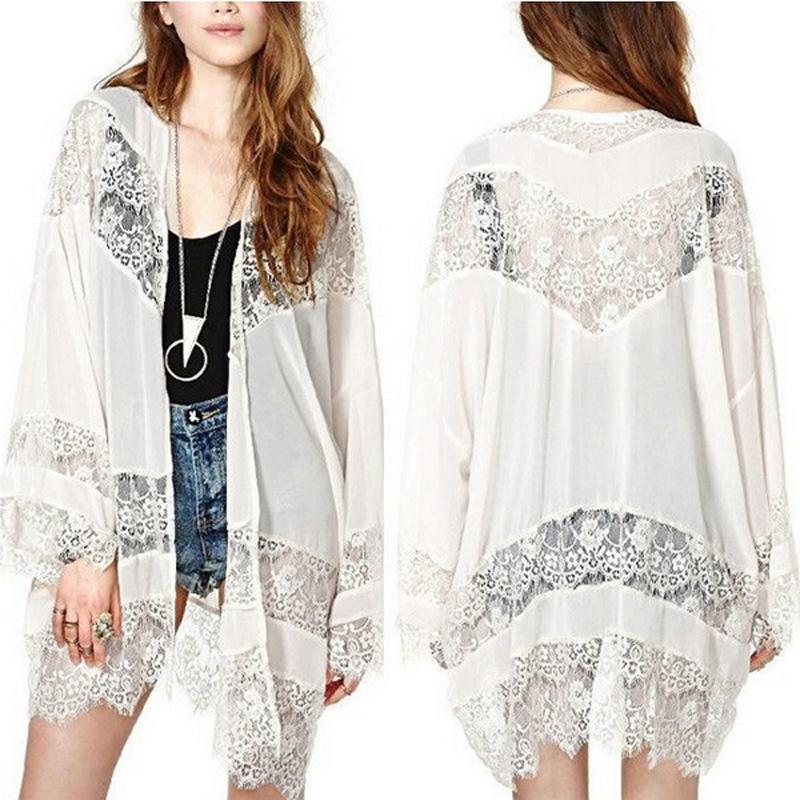 Zanzea S-5XL Women Chiffon Kimono Mesh Lace Crochet Floral Long ...