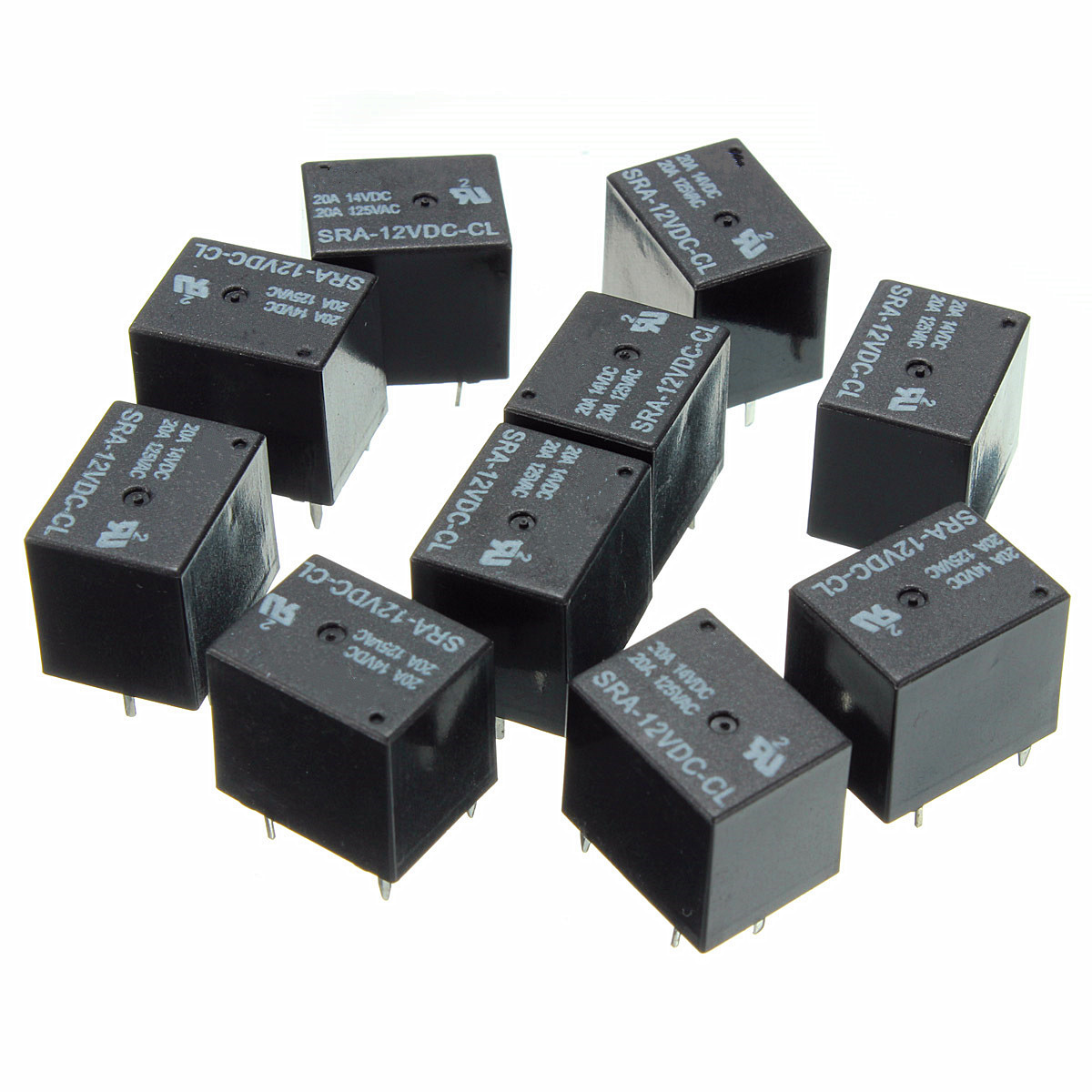 10Pcs SRA12VDCCL DC 12V Coil 20A PCB General Purpose Relay 5 Pin