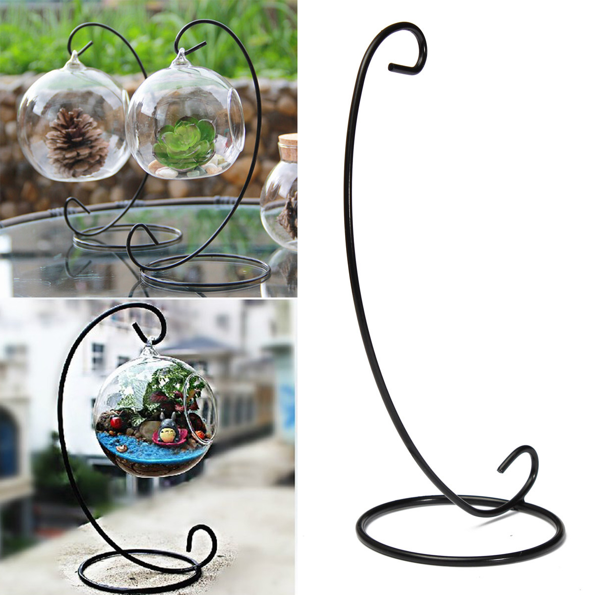 """23cm 9"""" Black Iron Plant Stand Holder for Clear Glass ... on Plant Stand Hanging  id=30548"""
