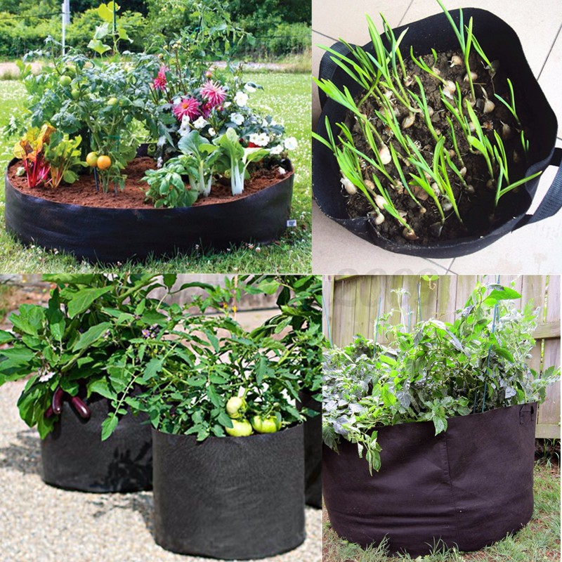 Black fabric pots plant grow bags size 1 2 3 5 7 10 for Wandhalterung pflanzen