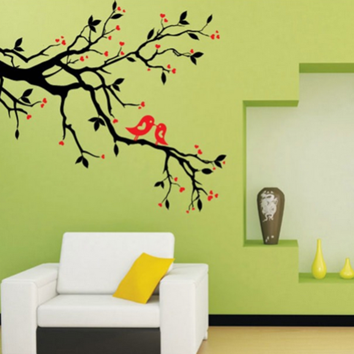 Butterfly Flowers Vine Removable PVC Home Wall Sticker DIY Art Mural ...