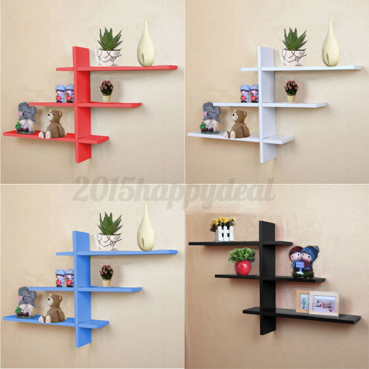 Heavy duty t shape floating wall mount shelves book dvd storage image is loading heavy duty t shape floating wall mount shelves amipublicfo Image collections