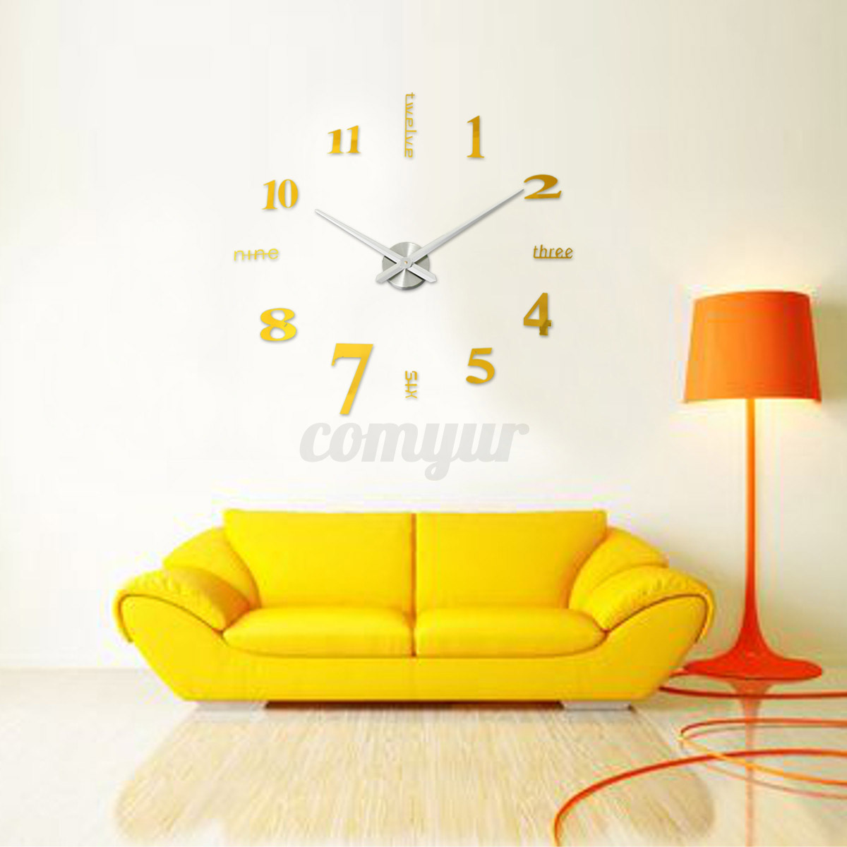 3d large wall clock mirror sticker big watch sticker home for Home decor 3d stickers