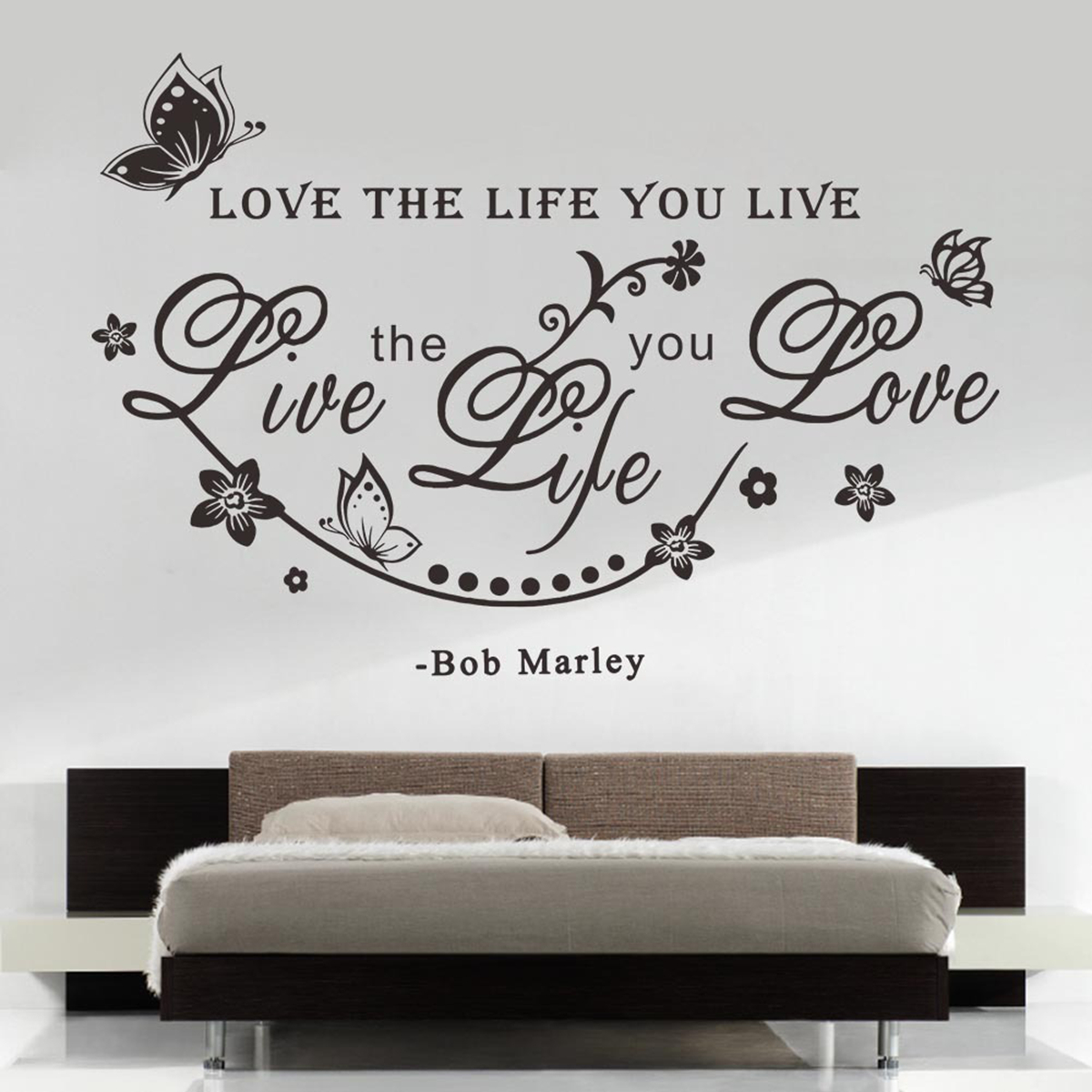 Removable Love The Life You Live Bob Marley Quote Art Vinyl Wall