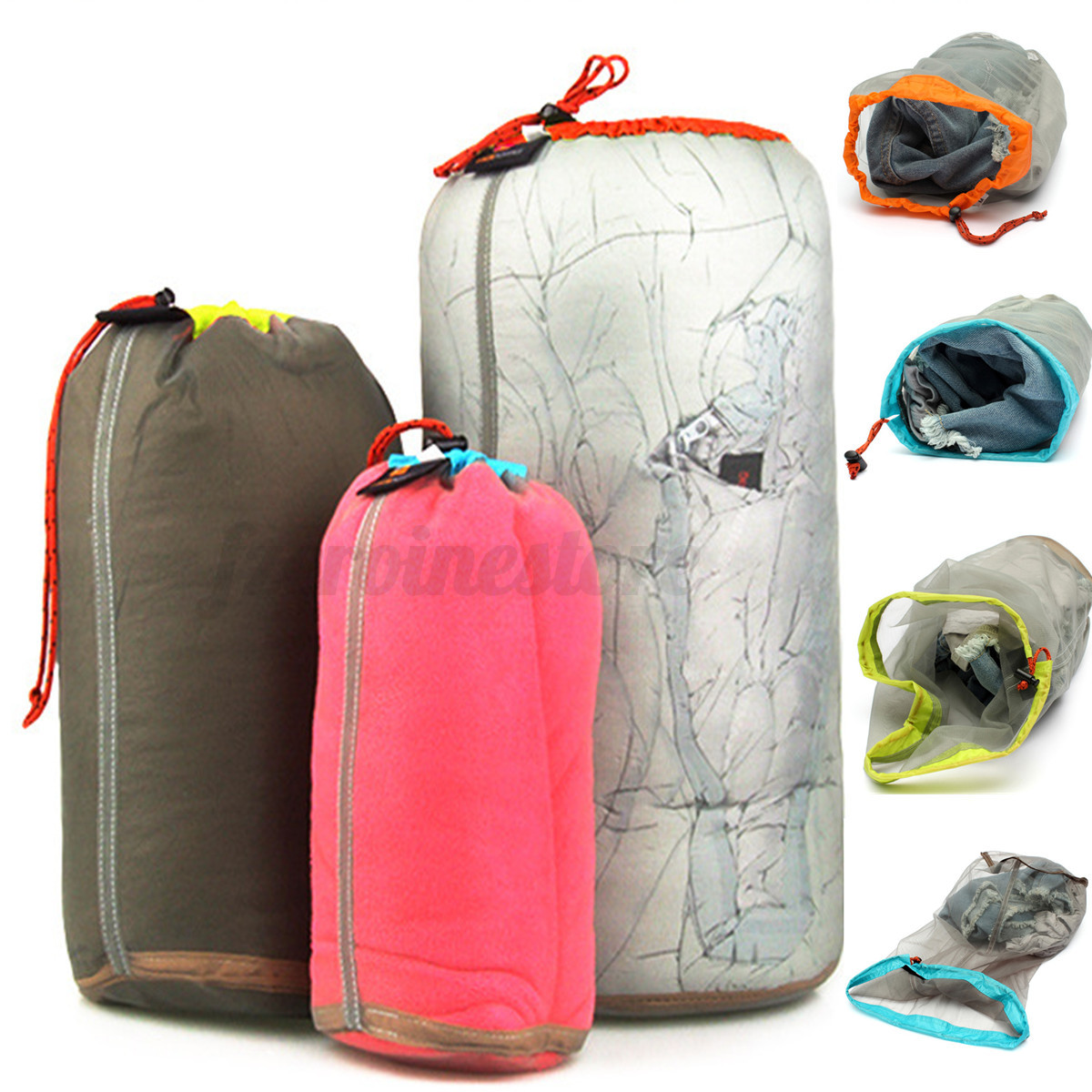 34e03a4ed057 Details about Outdoor Sports Travel Camping Ultralight Mesh Stuff  Drawstring Bag Sack Storage