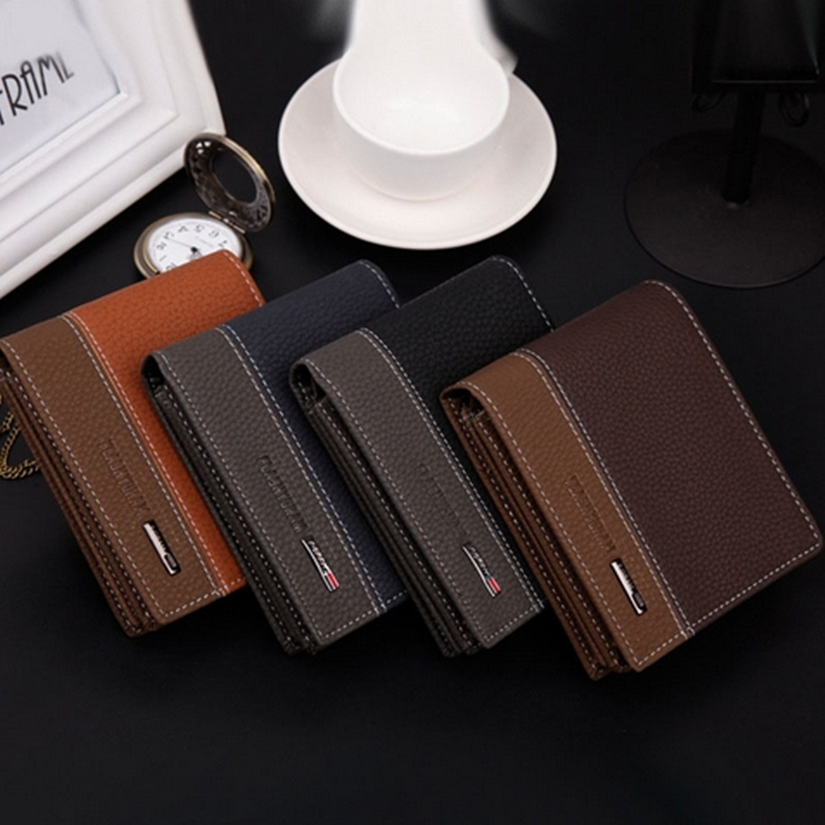 Fashion Men Leather Bifold Wallet Money Card Holder Coin Bag Clutch ...