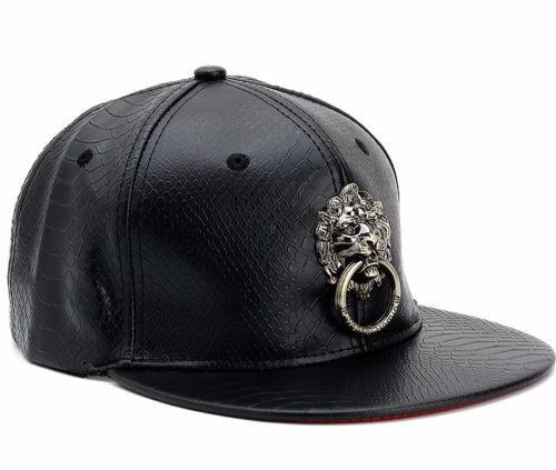 c541b2066 Details about UK Unisex Men Faux Leather Baseball Cap Bboy Hiphop Lion  Adjustable Snapback Hat