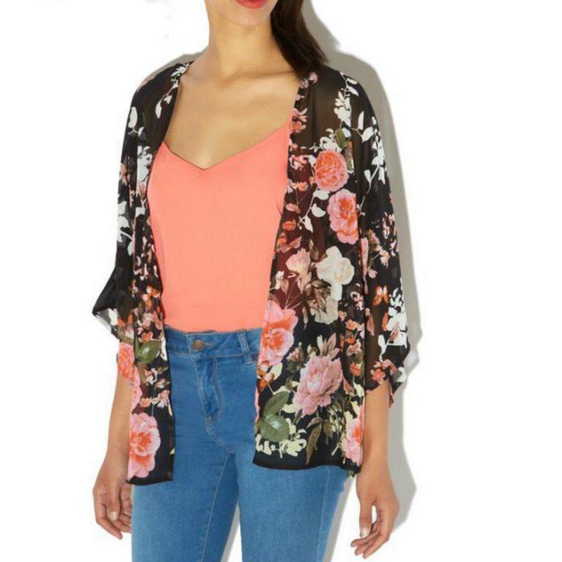 UK Stock Women Loose Floral Kimono Chiffon Cardigan Coat Jacket ...
