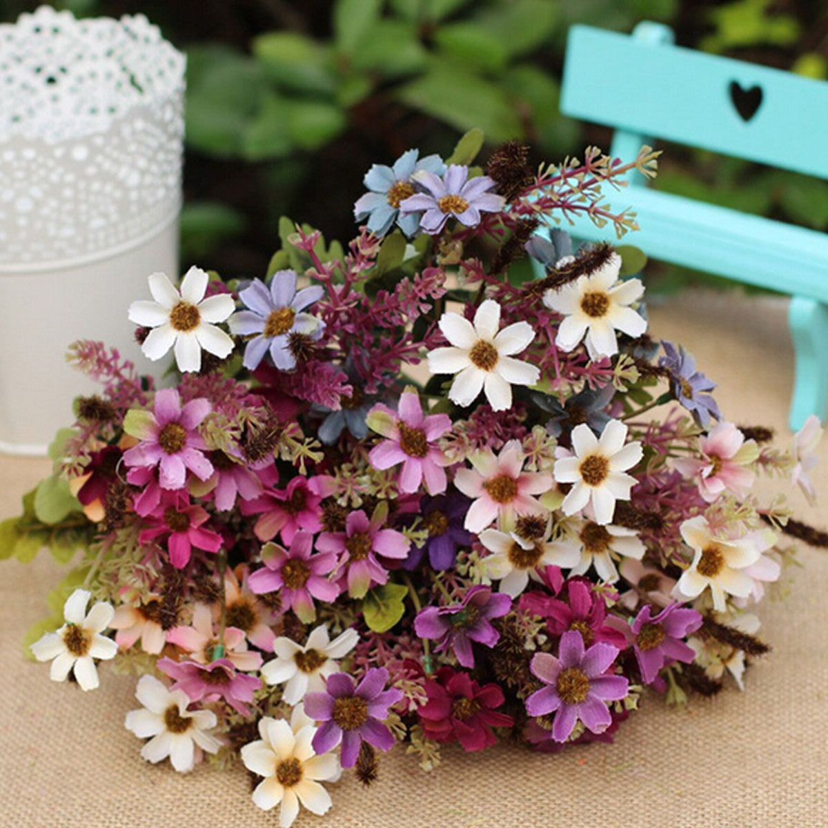 18 heads fake silk flowers bouquet artificial daisy wedding floral image is loading 18 heads fake silk flowers bouquet artificial daisy izmirmasajfo