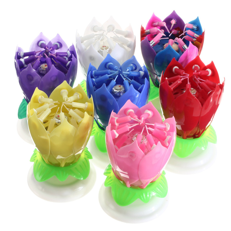 Magical Flower Happy Birthday Blossom Lotus Musical Candle Romantic