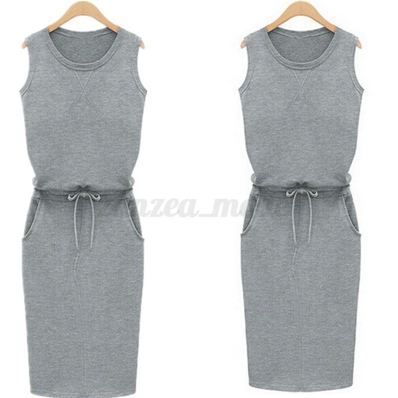 UK-Women-Ladies-Summer-Sleeveless-Long-Vest-Tank-Dress-Pencil-Midi-Dress-Grey thumbnail 4