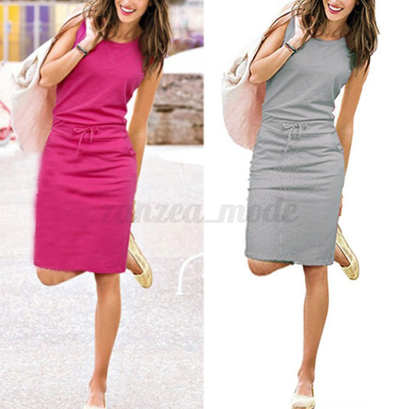 UK-Women-Ladies-Summer-Sleeveless-Long-Vest-Tank-Dress-Pencil-Midi-Dress-Grey thumbnail 3