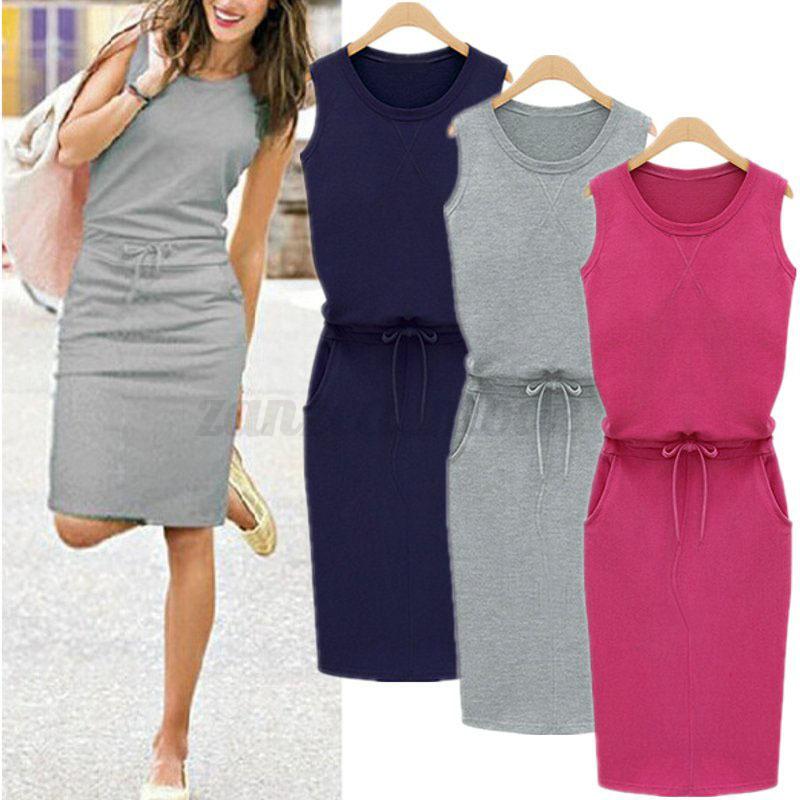 UK-Women-Ladies-Summer-Sleeveless-Long-Vest-Tank-Dress-Pencil-Midi-Dress-Grey