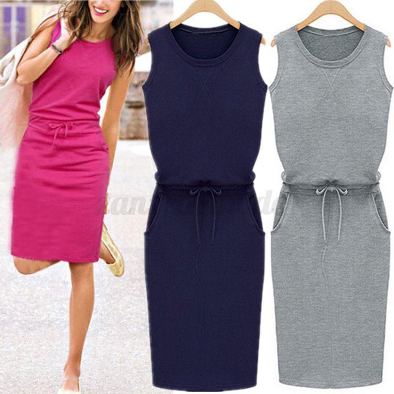 UK-Women-Ladies-Summer-Sleeveless-Long-Vest-Tank-Dress-Pencil-Midi-Dress-Grey thumbnail 2