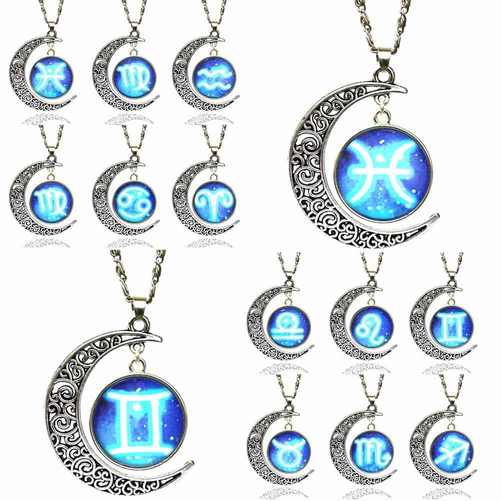12 signs zodiac glass necklace blue moon pendant men women jewelry detail image aloadofball Images