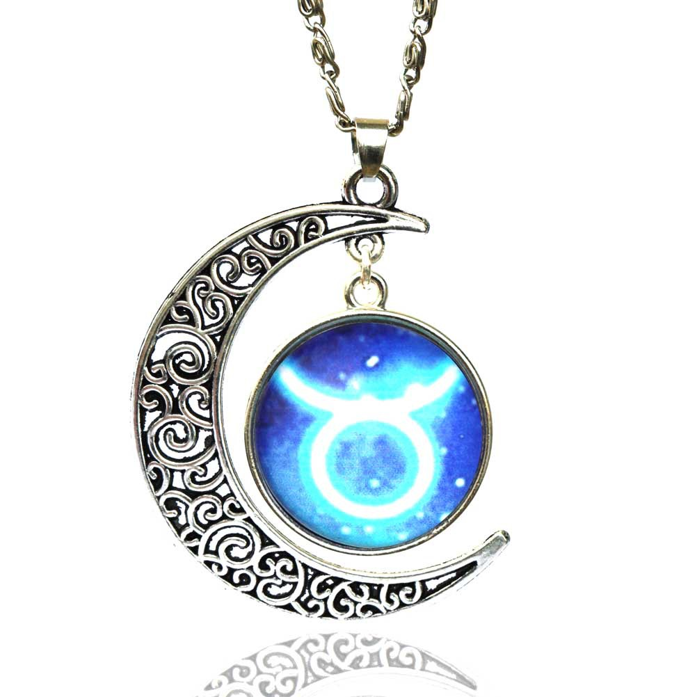 12 signs zodiac glass necklace blue moon pendant men women jewelry 12 signs zodiac glass necklace blue moon pendant men women jewelry symbol gift ebay aloadofball Images