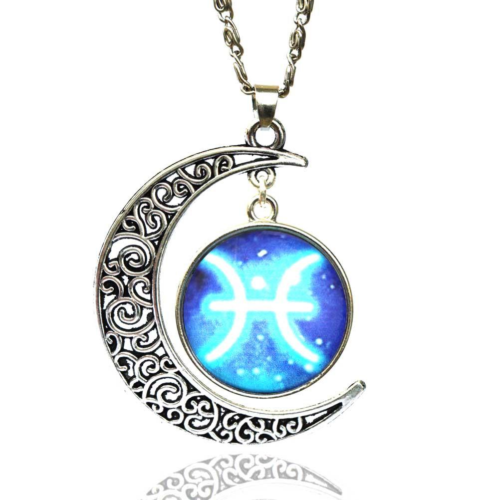 12 signs zodiac glass necklace blue moon pendant men women jewelry detail image buycottarizona Images