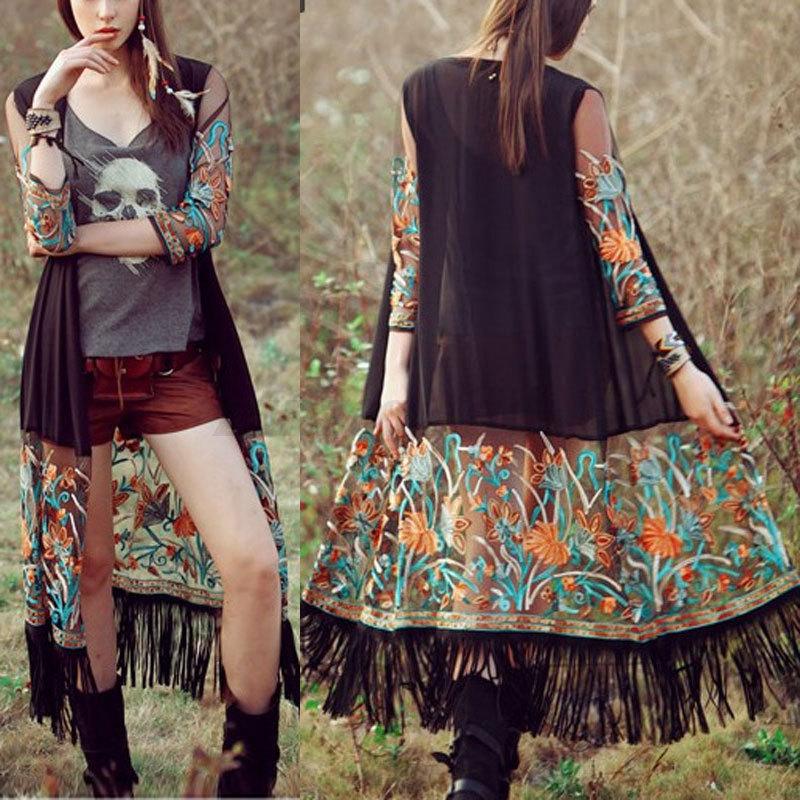 Bohemia damen chiffon floral sheer kimono cardigan sommer for Kimono jacke damen