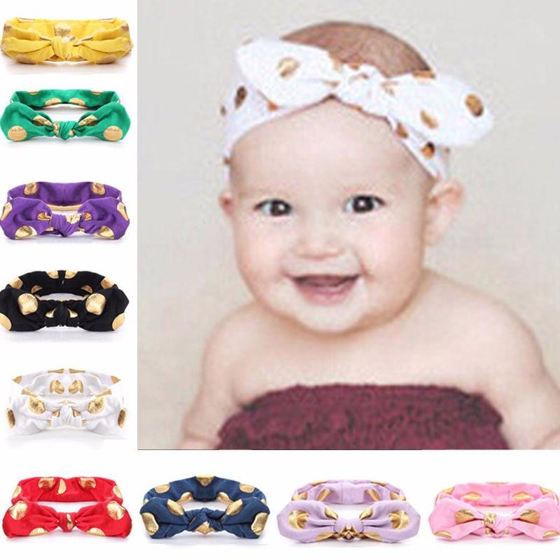 Baby Girl Elastic Bowknot Rabbit Ears Turban Knot Dot Headband