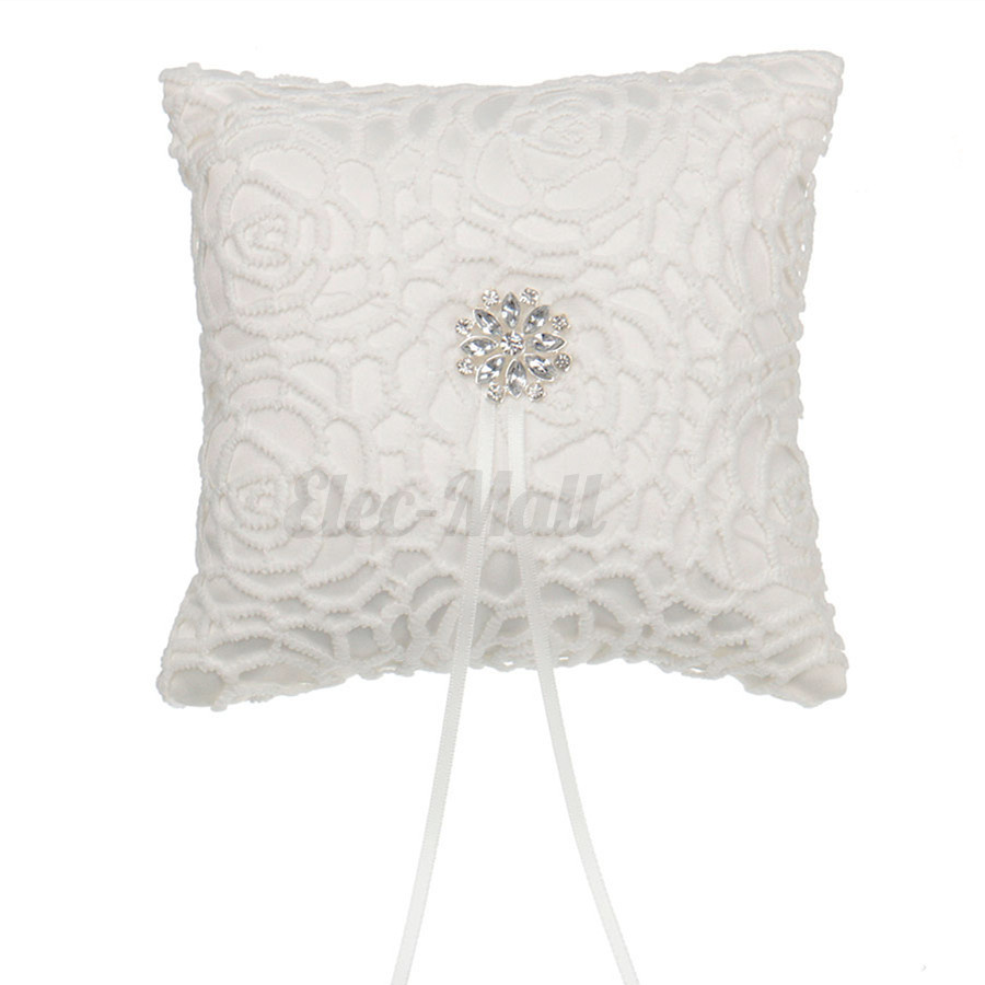 ios roses new ring holder cushion pillow index wedding engagement thread red
