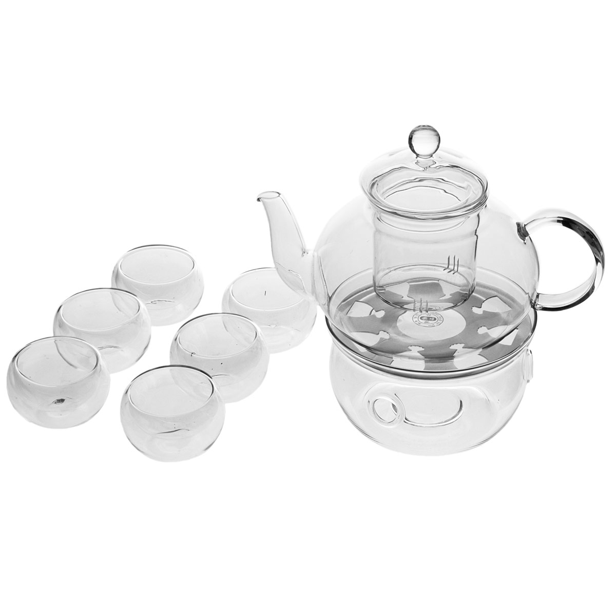 Heat Resistant Glass Teapot 800ml Infuser Teapot Warmer 6 Double