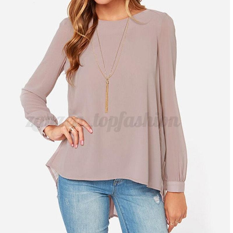 ZANZEA Womens Puff Long Sleeve Tops T Shirt Chiffon Casual Pleated Babby Blouse