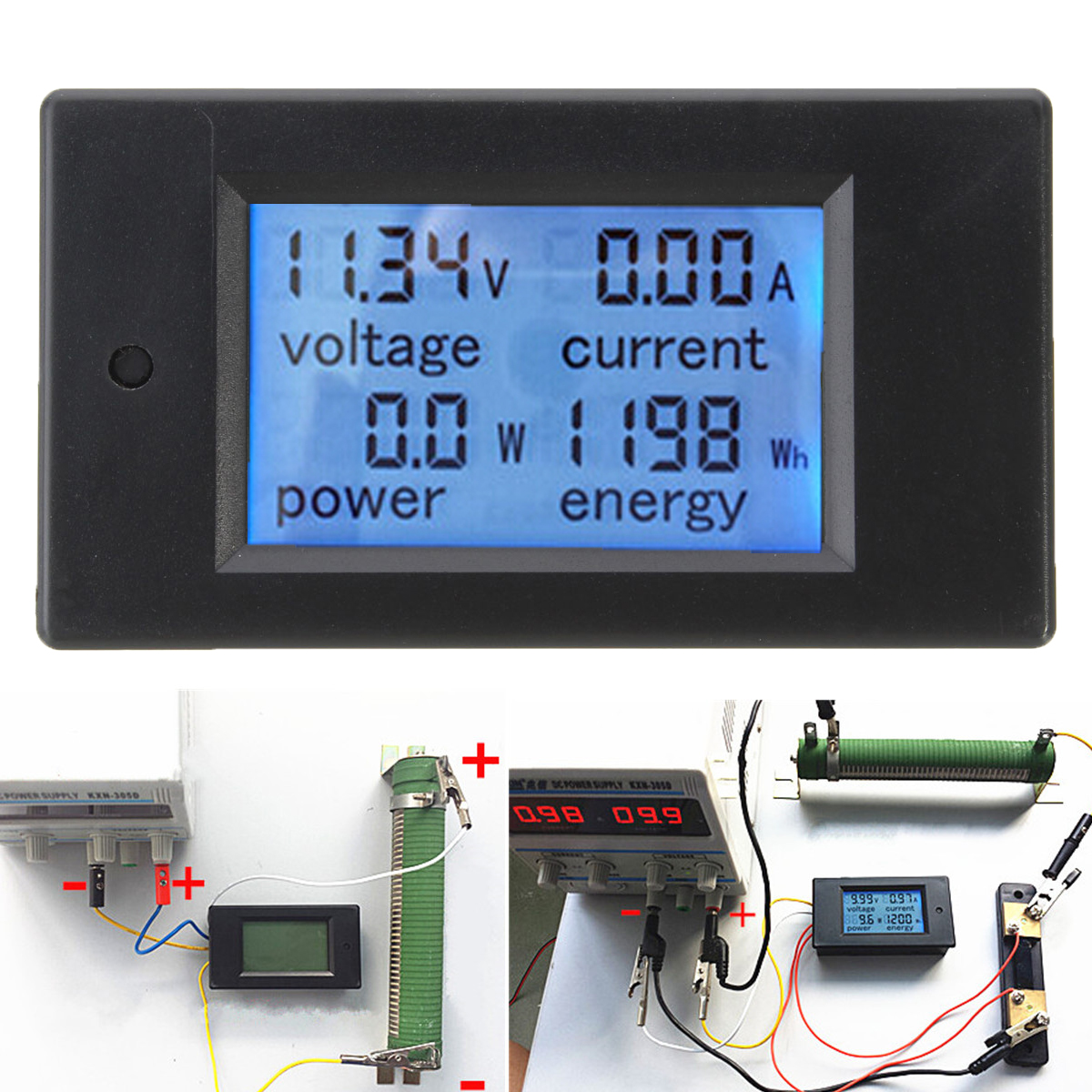 Dc Voltage Meter : Dc a digital led power meter monitor energy