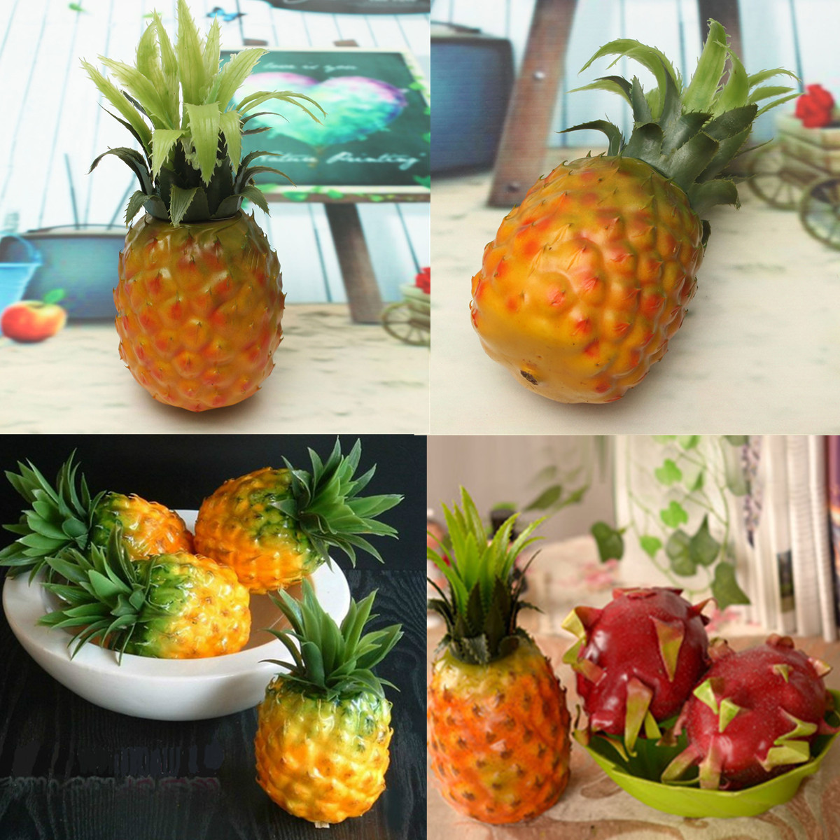 Artificial pineapple plastic fruit fake food home kitchen for Artificial pears decoration