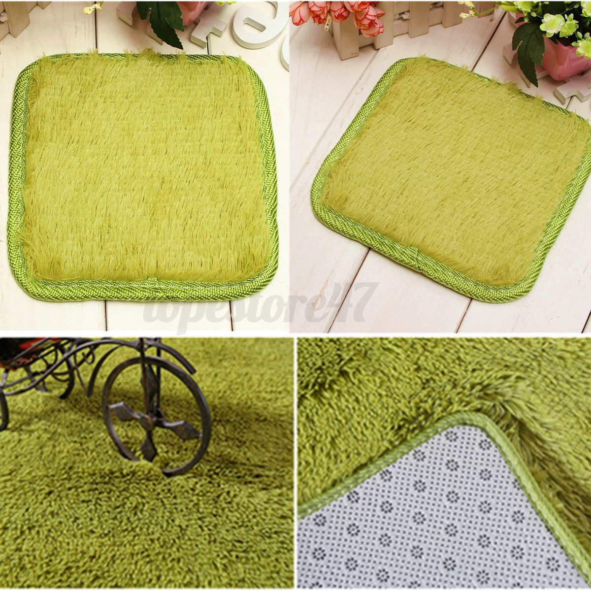 carre tapis coussin shaggy peluche antid rapant carpette moquettes salle de bain ebay. Black Bedroom Furniture Sets. Home Design Ideas