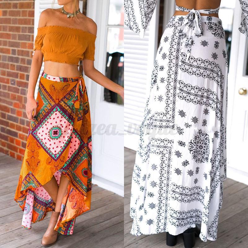 AU-Women-Floral-Long-Maxi-Wrap-Skirt-Beach-Split-Boho-Maxi-Dress-Sundress-Sarong