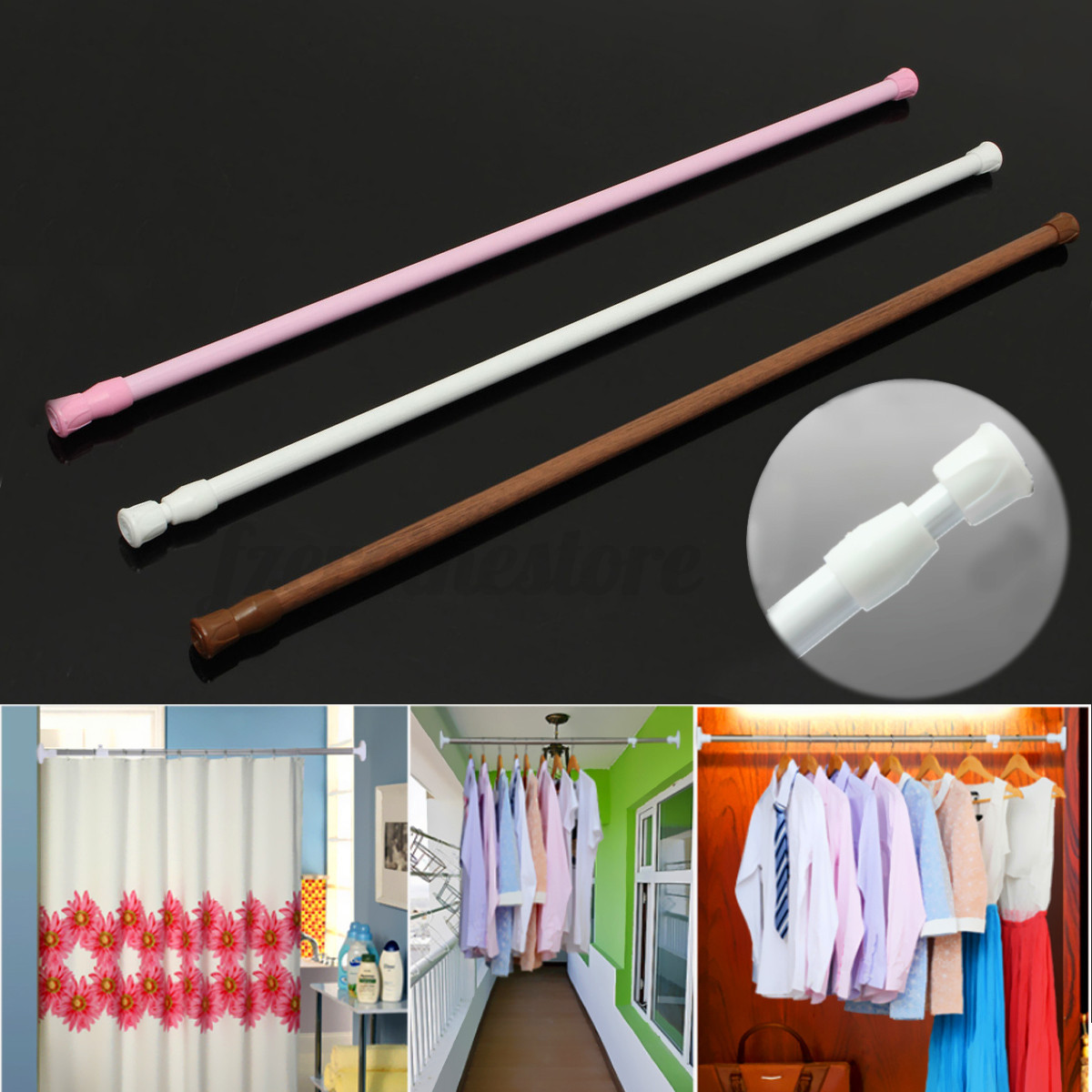 Spring loaded extendable net voile tension hanging shower curtain rail - Image Is Loading 60 110cm Spring Loaded Telescopic Net Voile Tension