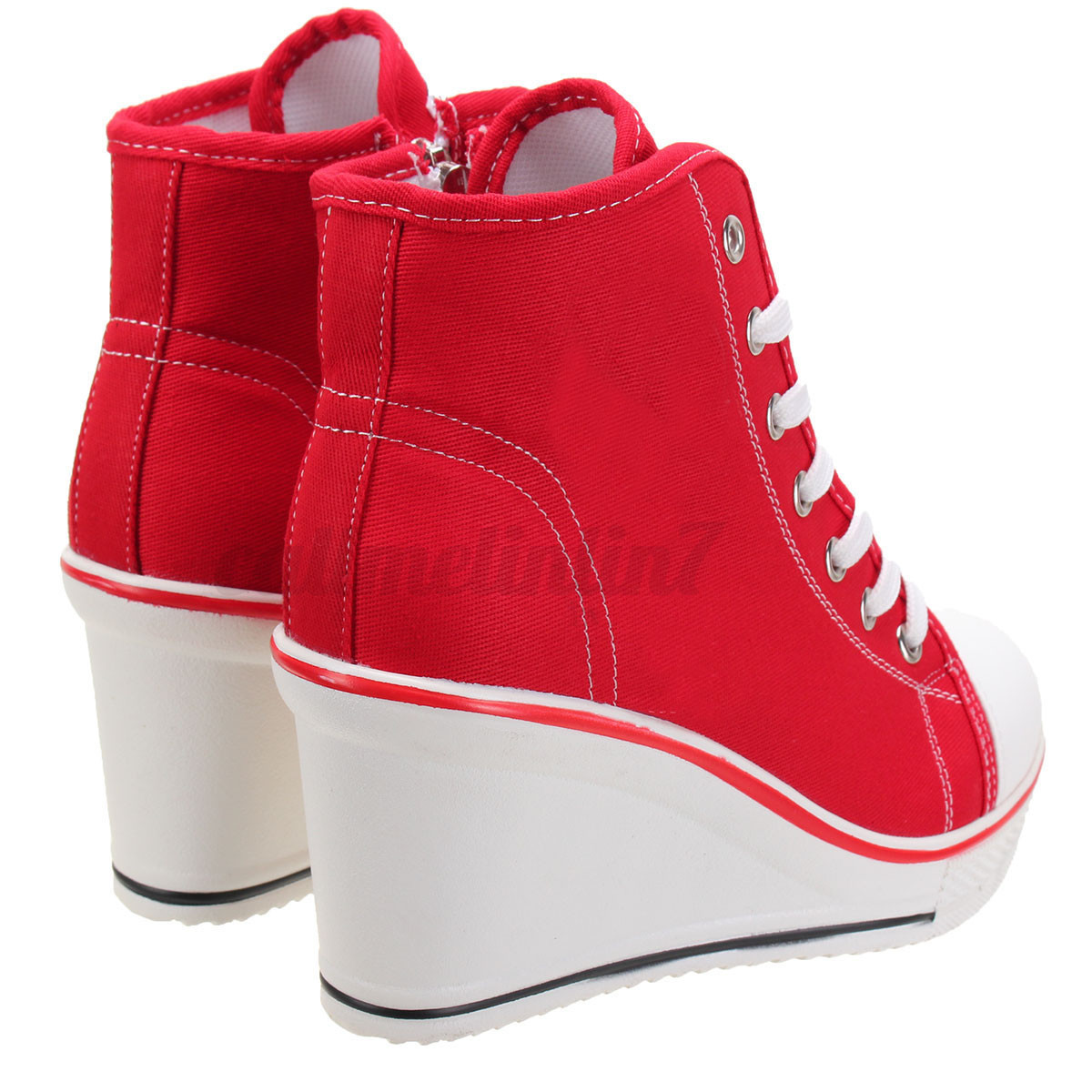 womens lace up canvas wedge shoes zip high top