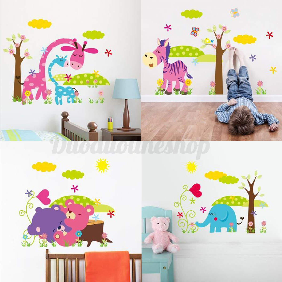 Diy Wall Decor For Baby : Bear giraffe animal diy removable wall sticker decal kid