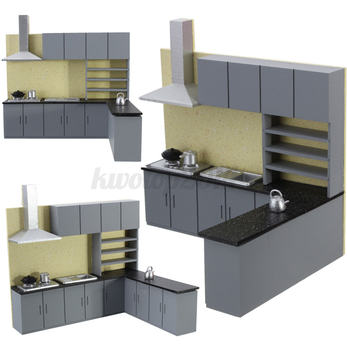 miniature kitchen cabinet set model kit furniture for art dollhouse 1 25 scale ebay. Black Bedroom Furniture Sets. Home Design Ideas