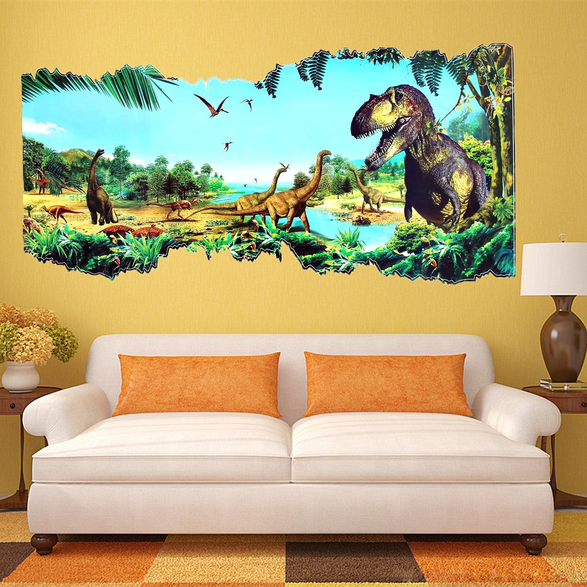 3d View Dinosaur Kids Room Decor Jurassic Park Wall Sticker Decal ...