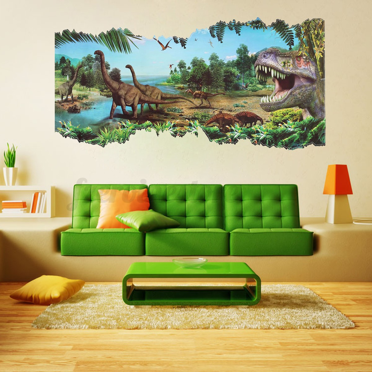 3d jurassic world park dinosaur wall sticker kids room for Dinosaur wall mural uk