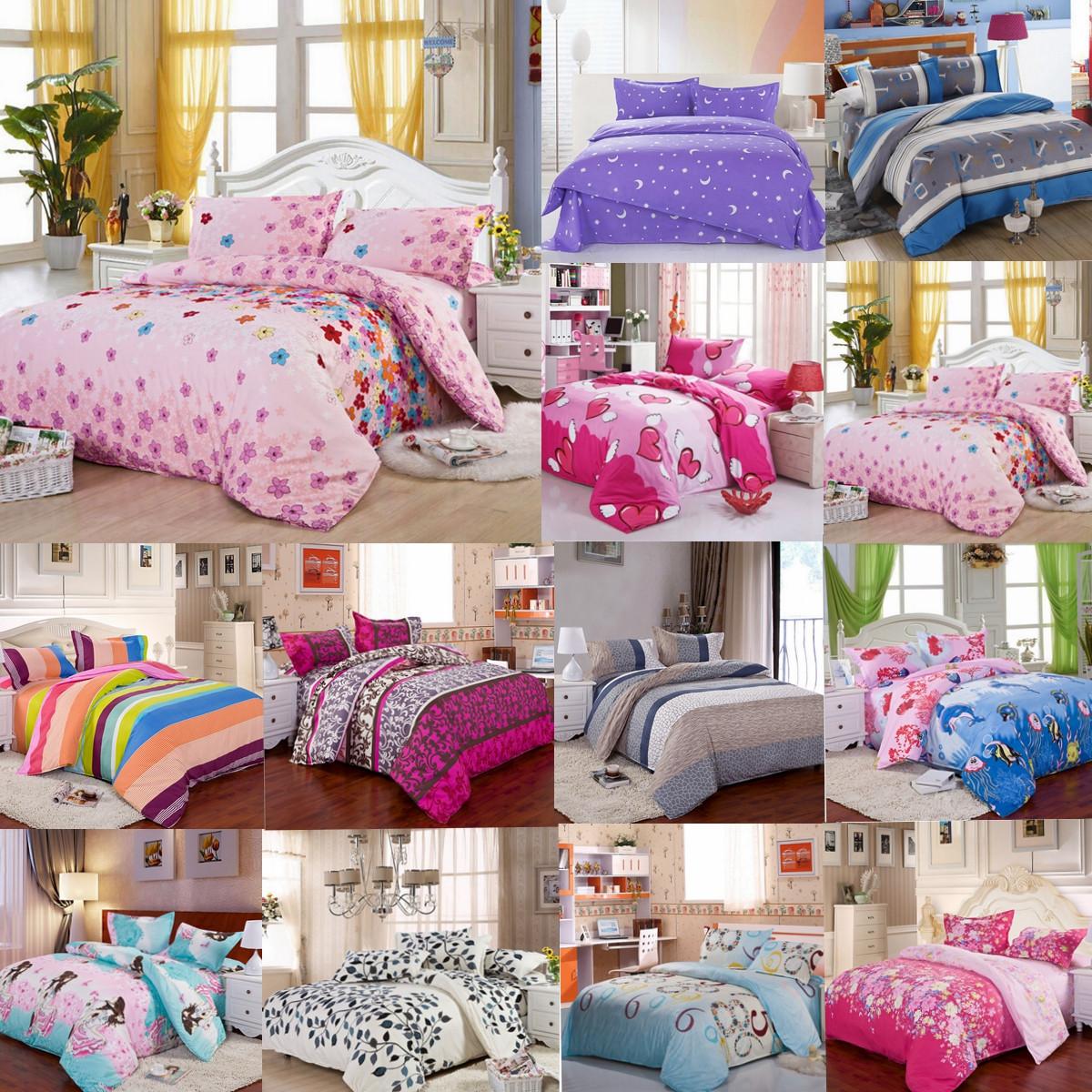 3Pcs Duvet Set Quilt Cover with Pillow Case Bedding set Single Double King Size