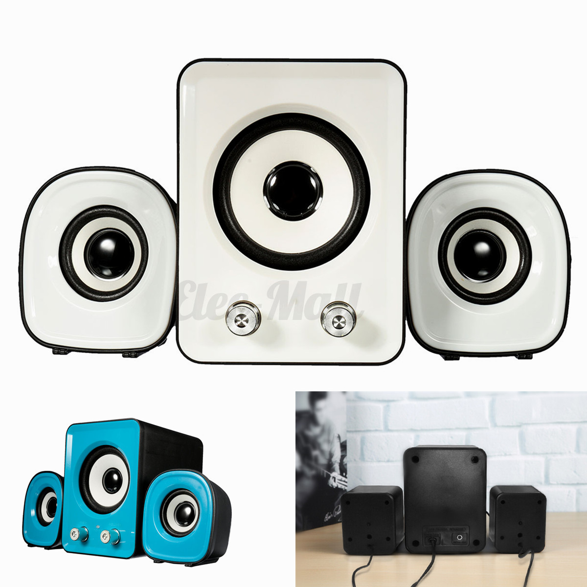 Mini Computer Speaker 2.1 Multimedia Stereo Desktop Portable USB Subwoofer 11W