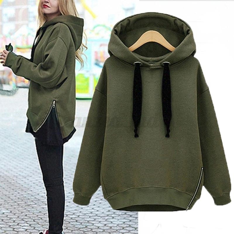 Damen Mode Warm Beiläufig Kapuzenpullover Hoodie Sweatshirt Sport Pullover Tops