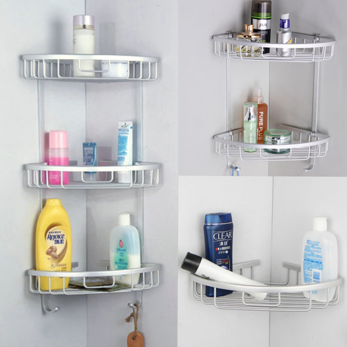 3 layer triangular shower bathroom corner bath rack wall storage rh ebay com bathroom shelf brackets ebay bathroom towel rack shelf wall mounted