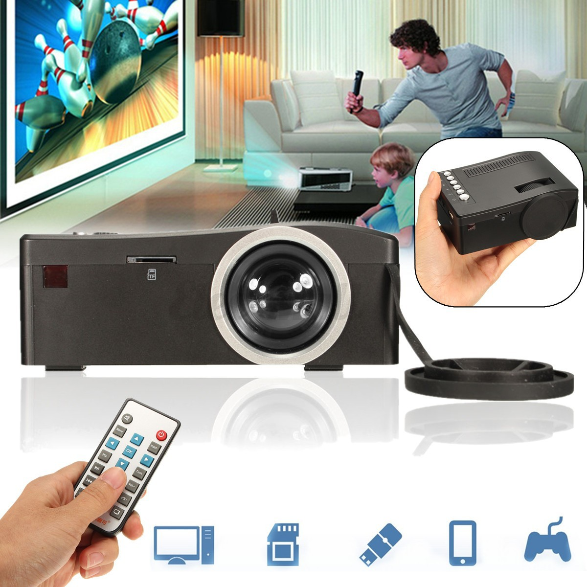 Mini Home Cinema Theater 1080p Hd Multimedia Usb Led: Portable 1080P HD Mini Projector Multimedia Home Theater