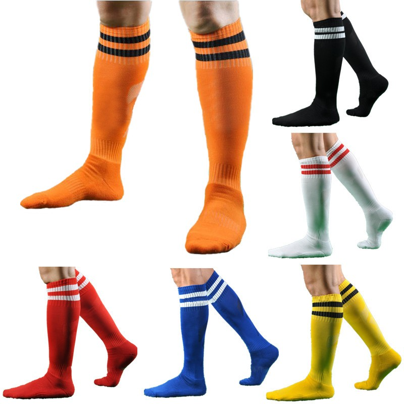 website for discount so cheap large discount Details about Mens Sport Football Striped Long Socks Knee High Large Hockey  Rugby Womens