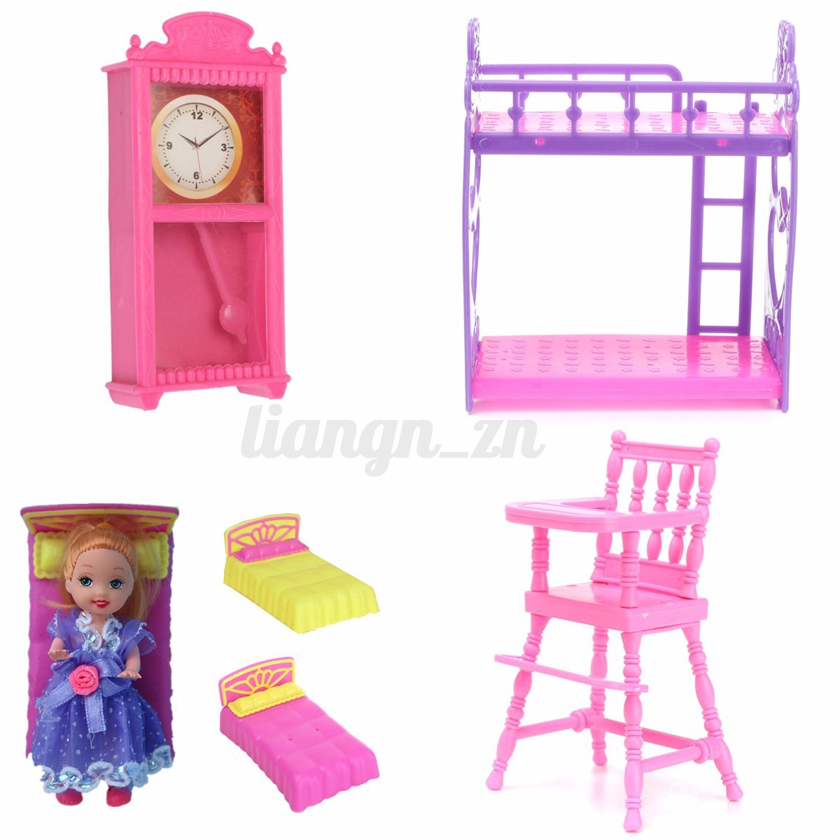 maison poup e meuble chaise chambre lit horloge barbie accessoires diy dollhouse eur 1 83. Black Bedroom Furniture Sets. Home Design Ideas